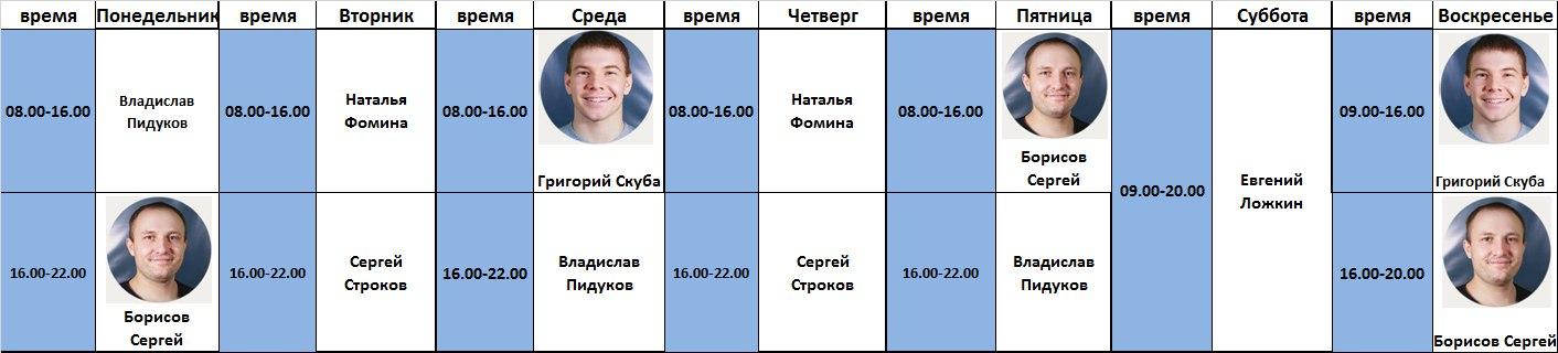Расписание дежурных инструкторов тренажерного зала с 16.01.17